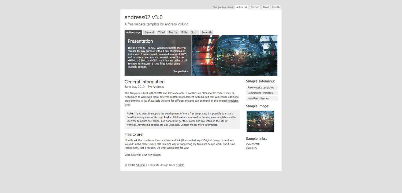 andreas02标准的二栏式企业简介推广博客模板
