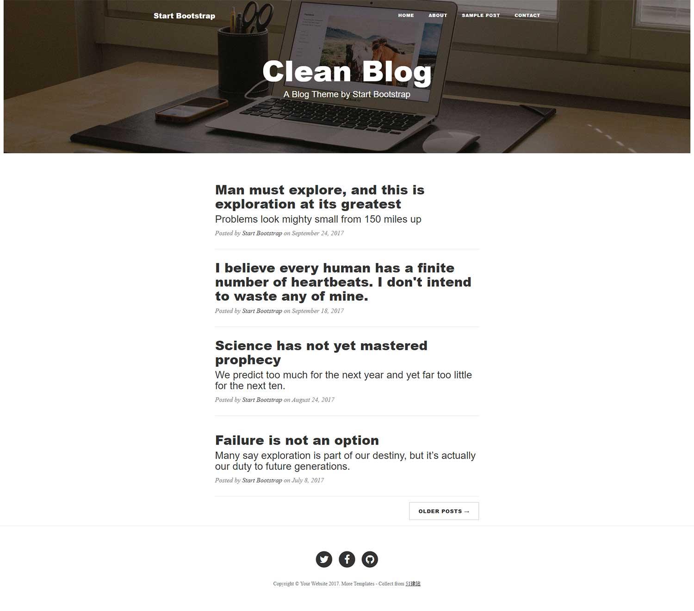 Clean Blog极简个人博客blog主页模板