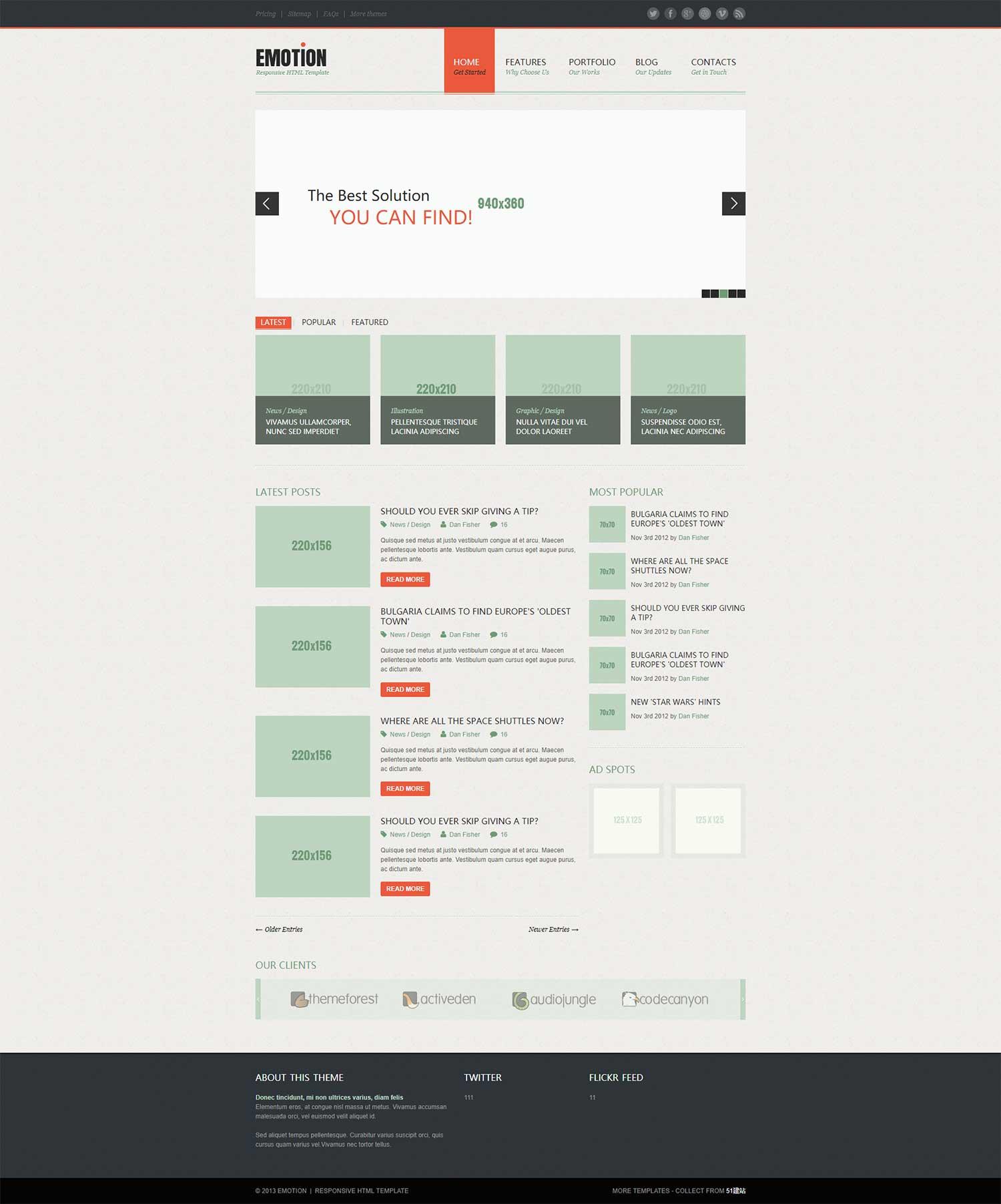 Emotion简洁多图展示企业外贸英文博客律师服务咨询简洁网站模板