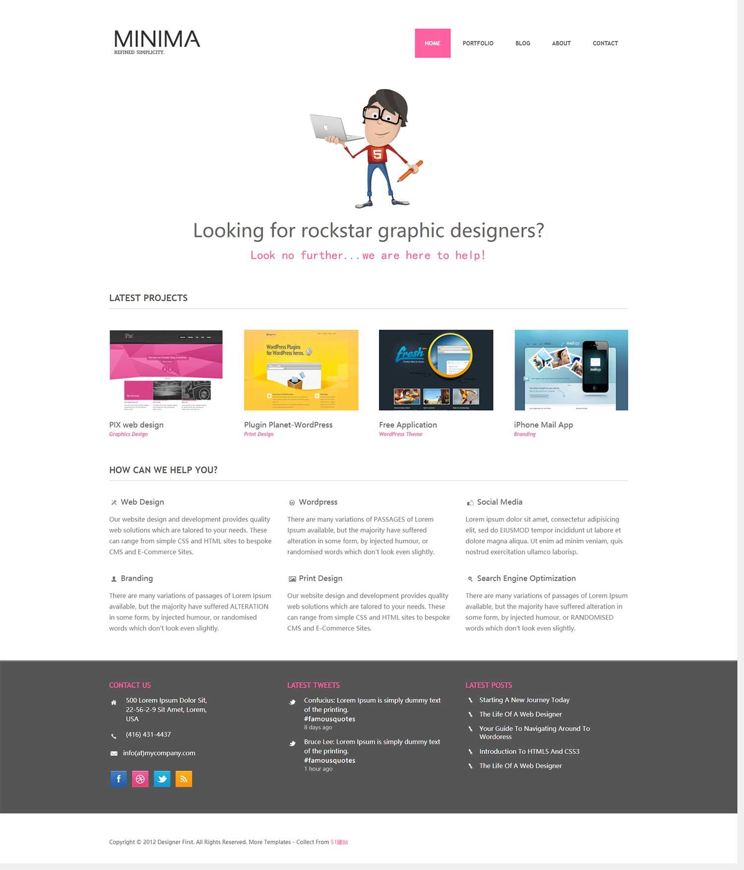Minima简洁响应式设计师插画师程序员个人作品展示清晰商业外贸公司网页网站模板