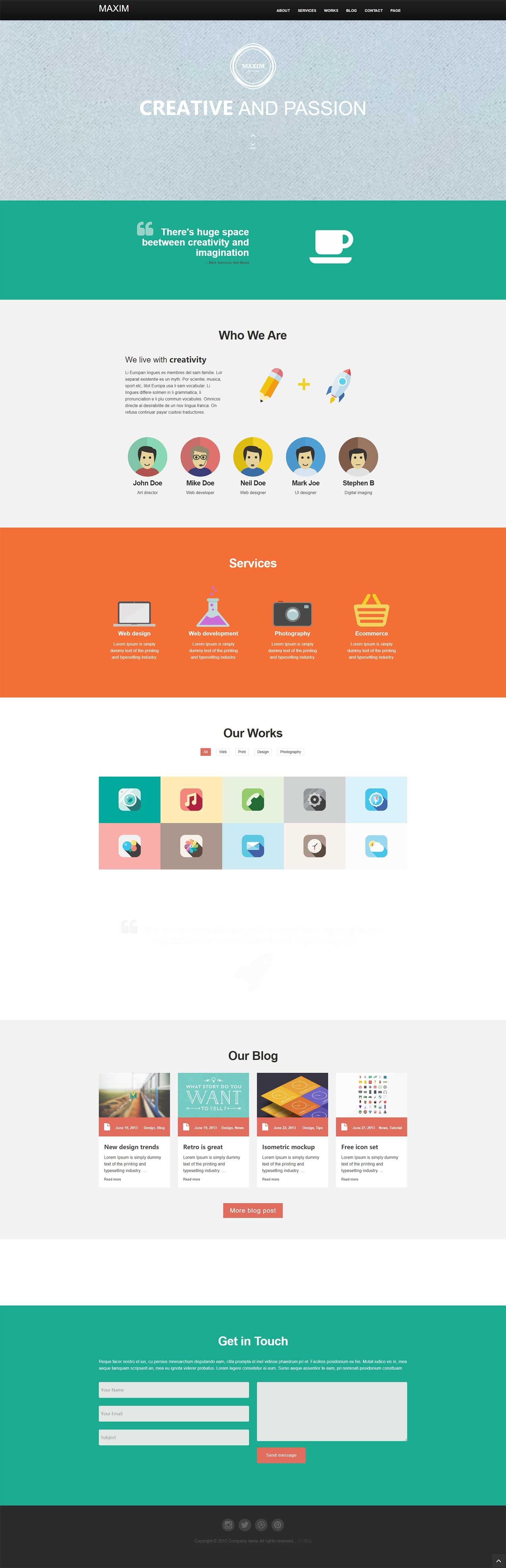 HTML5大气扁平设计单页模板是一款动感大气的个人企业产品展示网站模板