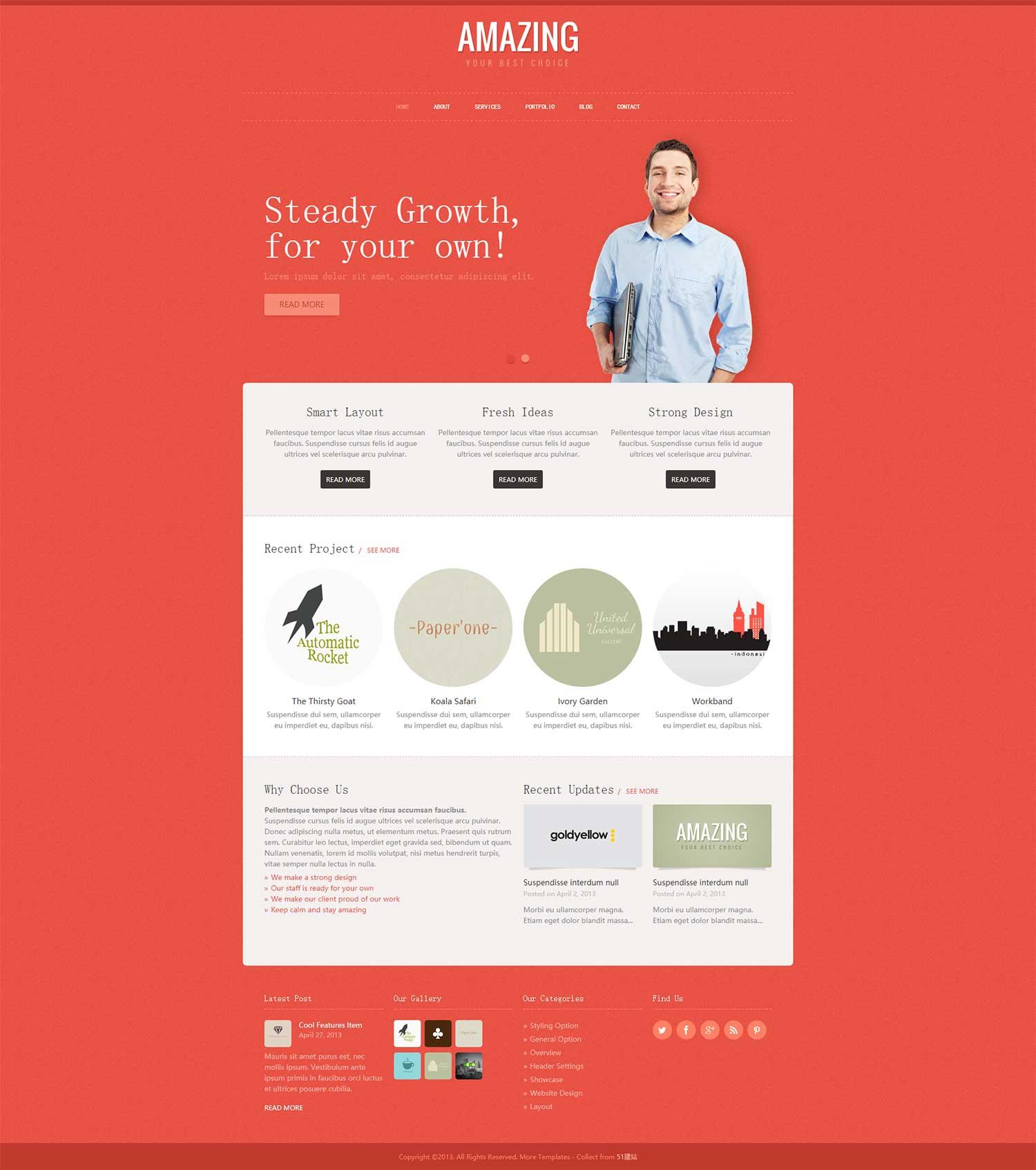 橙色漂亮的科技个人博客网站模板