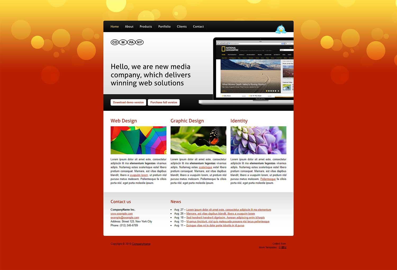 橙色炫彩背景产品展示精美官网模板