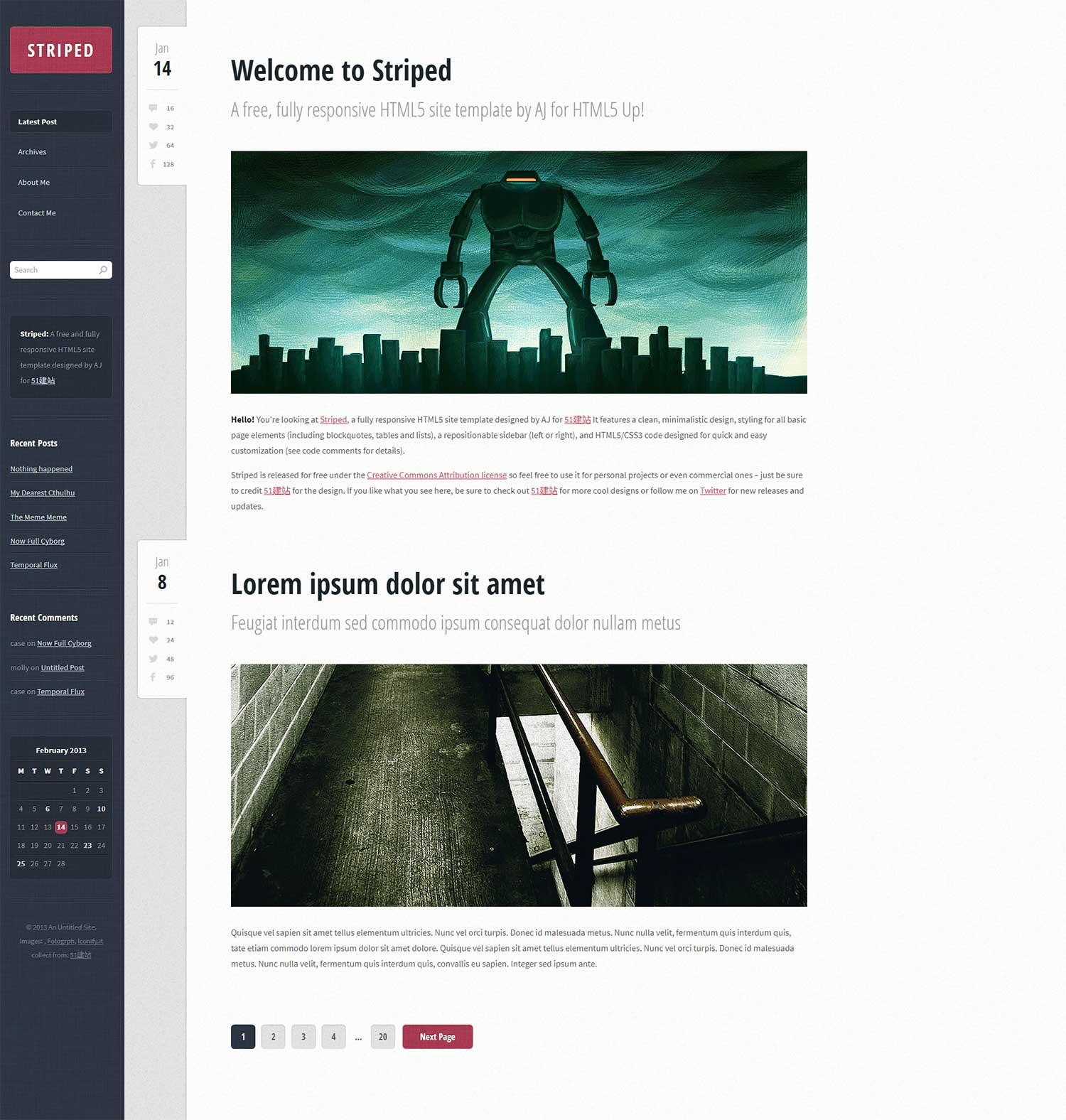 暗蓝色亚麻质感UI博客HTML5模板