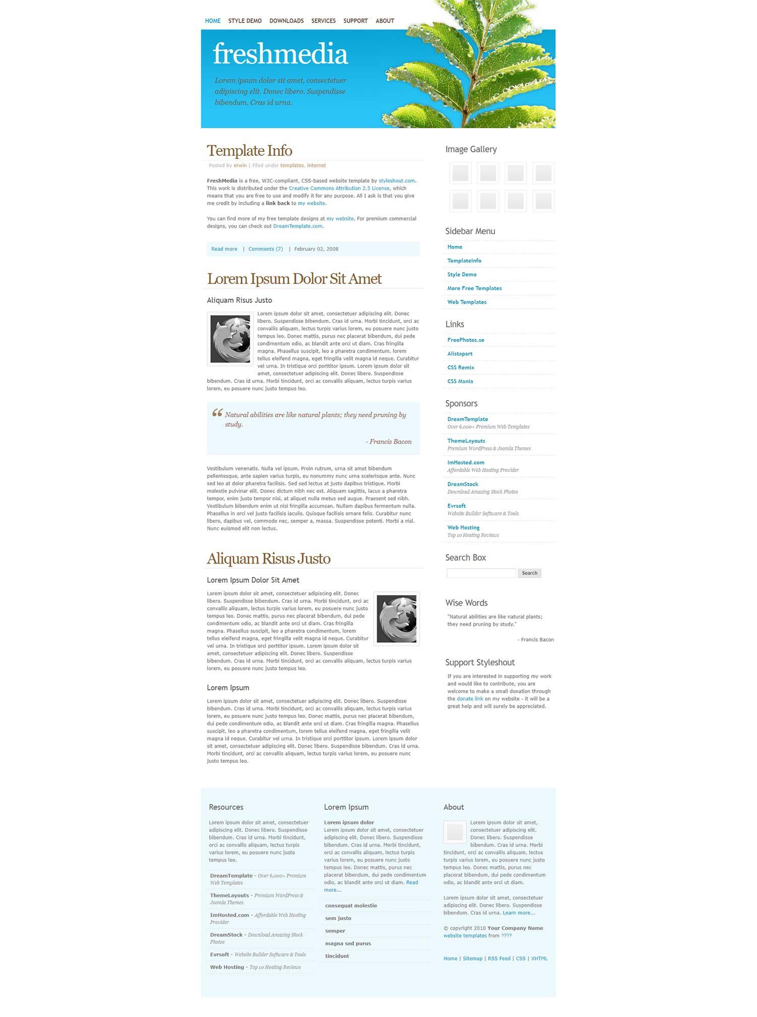 freshmedia白色线条简洁的企业介绍个人博客模板