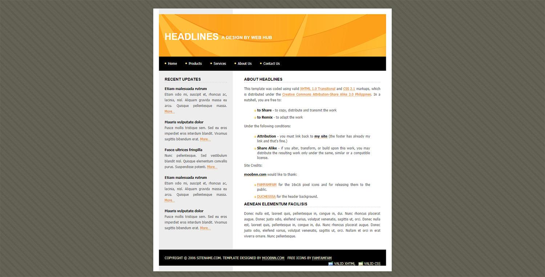 headlines橙色简洁标准的博客模板