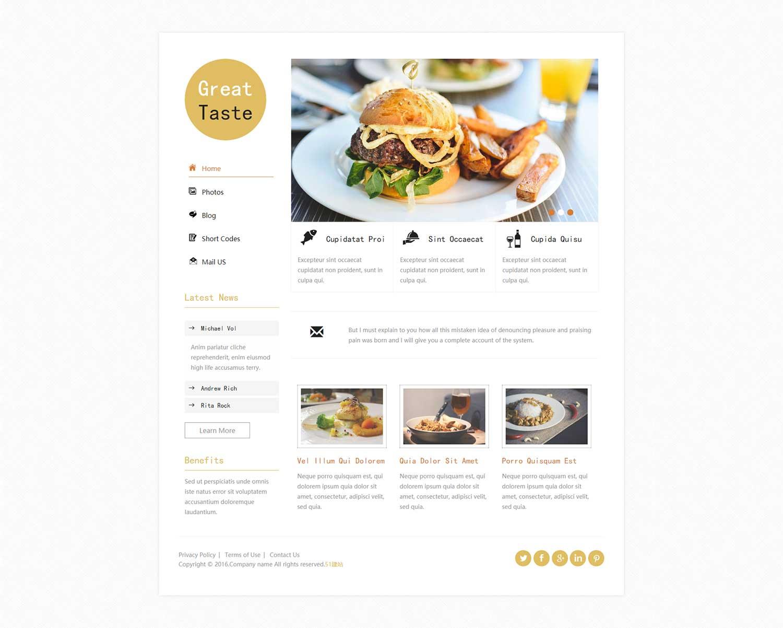 白色简洁美食博客模板下载是一款适合做个人博客展示HTML5模板下载