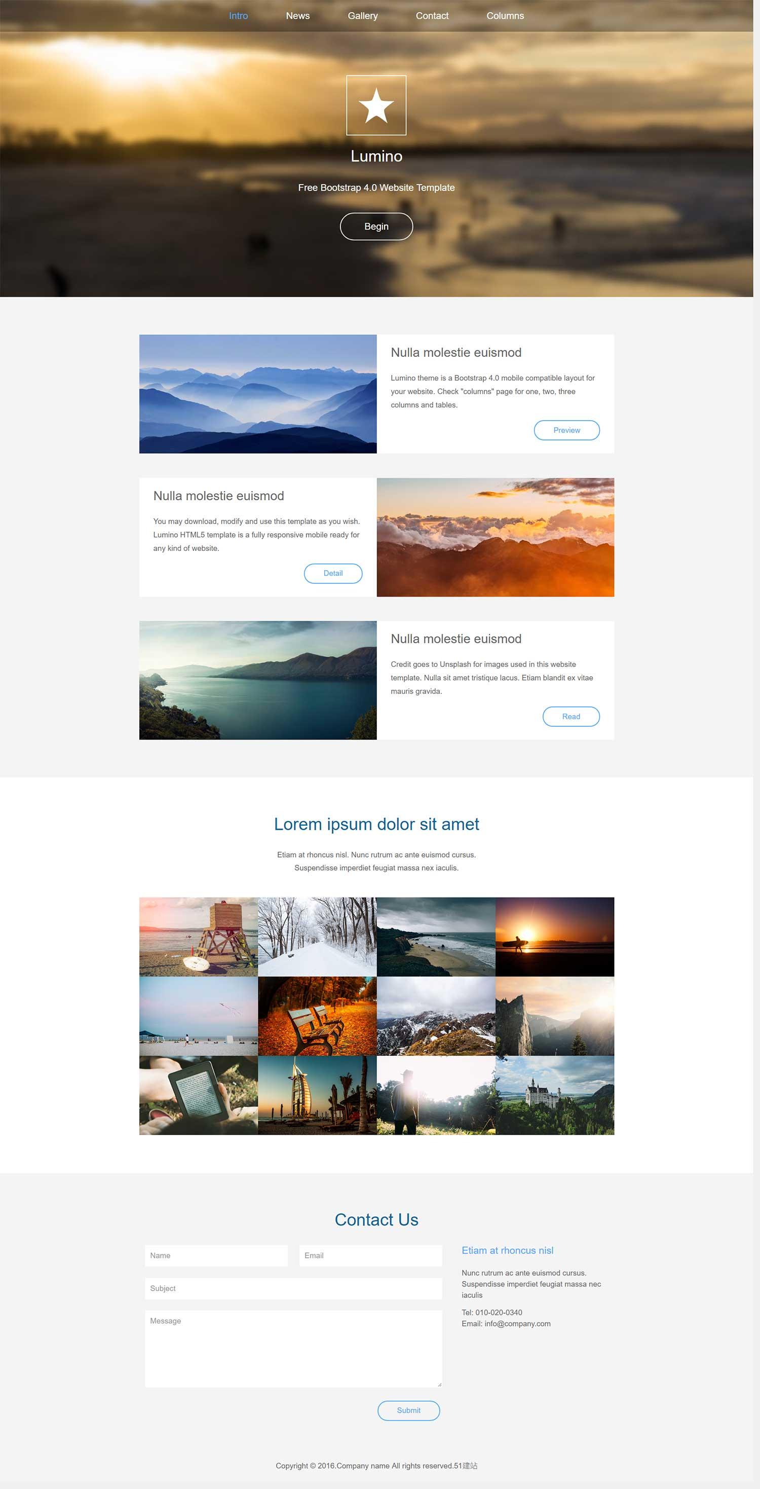 扁平化个人摄影博客html5模板是一款大气扁平风格的摄影爱好者网站模板