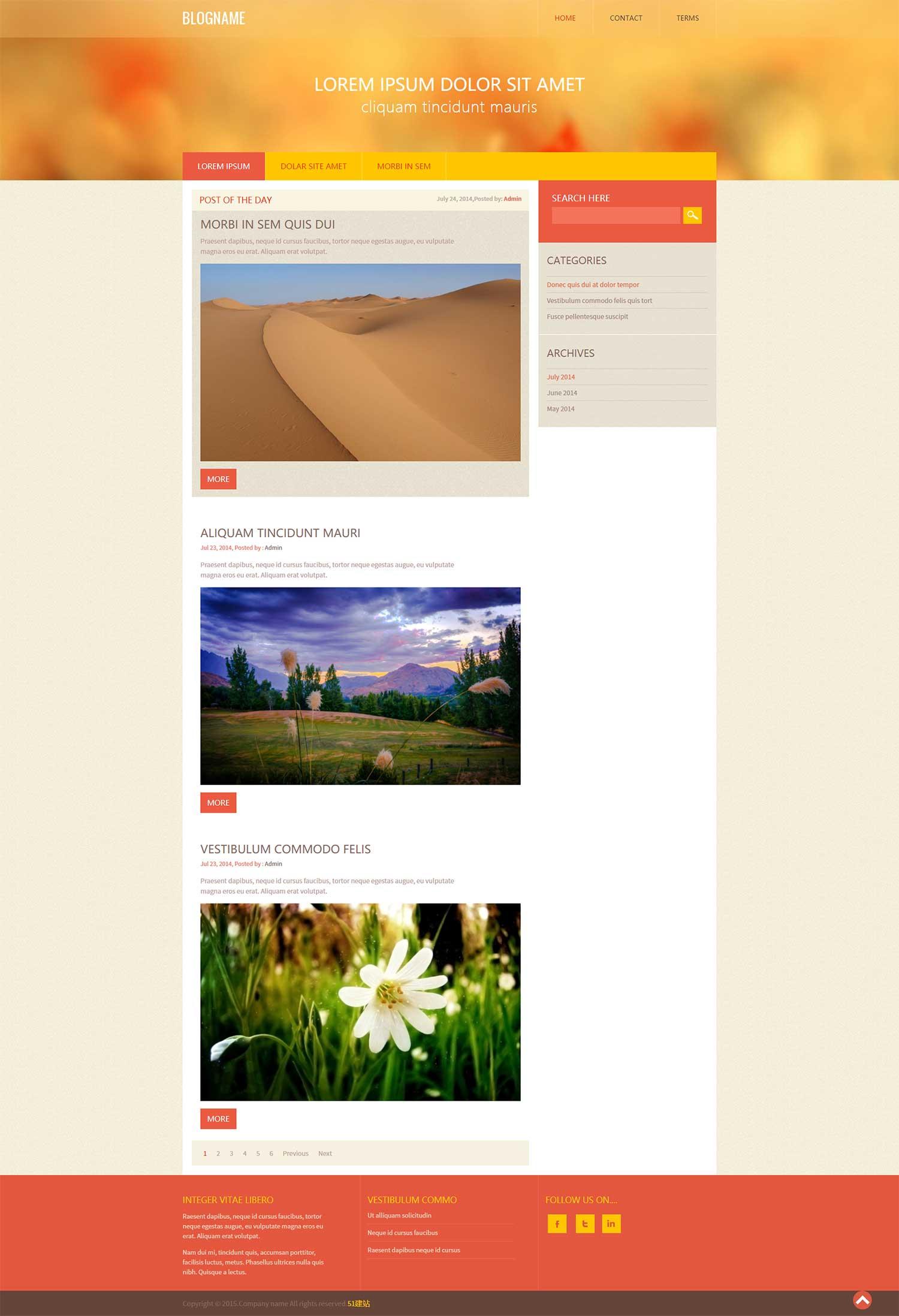 大气扁平博客网页模板是一款橙色风格的HTML个人博客模板