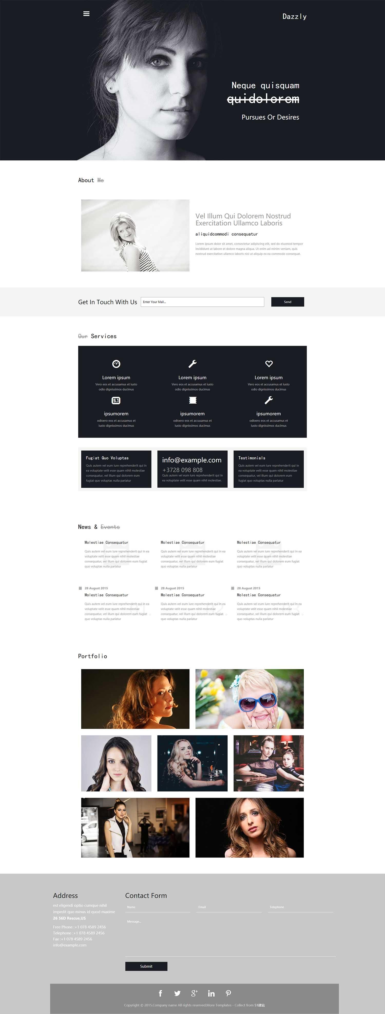 大气个人主页 bootstrap漂亮人像摄影工作室企业HTML5响应式模板