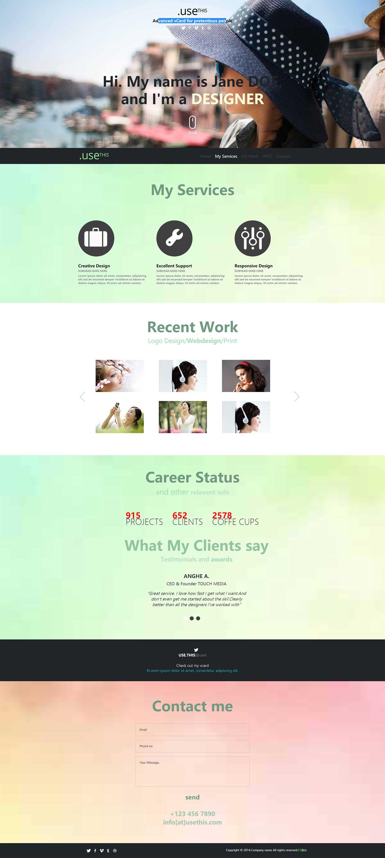 大气投资组合网站模板是一款欧美个人blog博客组合的HTML5模板
