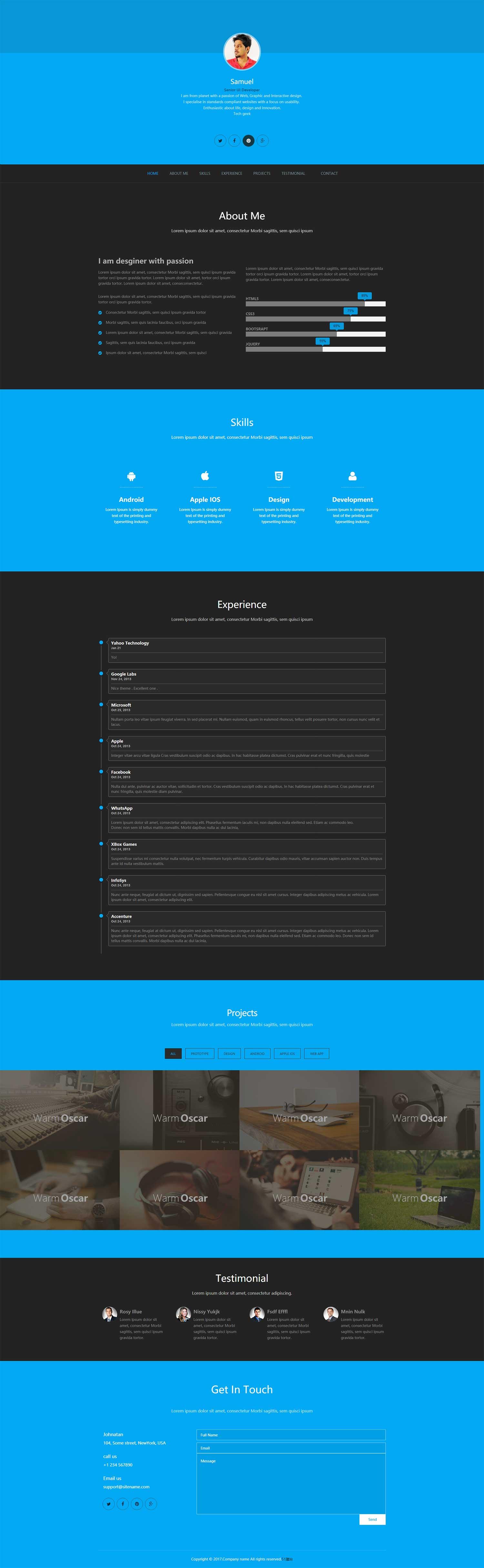HTML5一款扁平化大气的个人主页简历博客blog模板