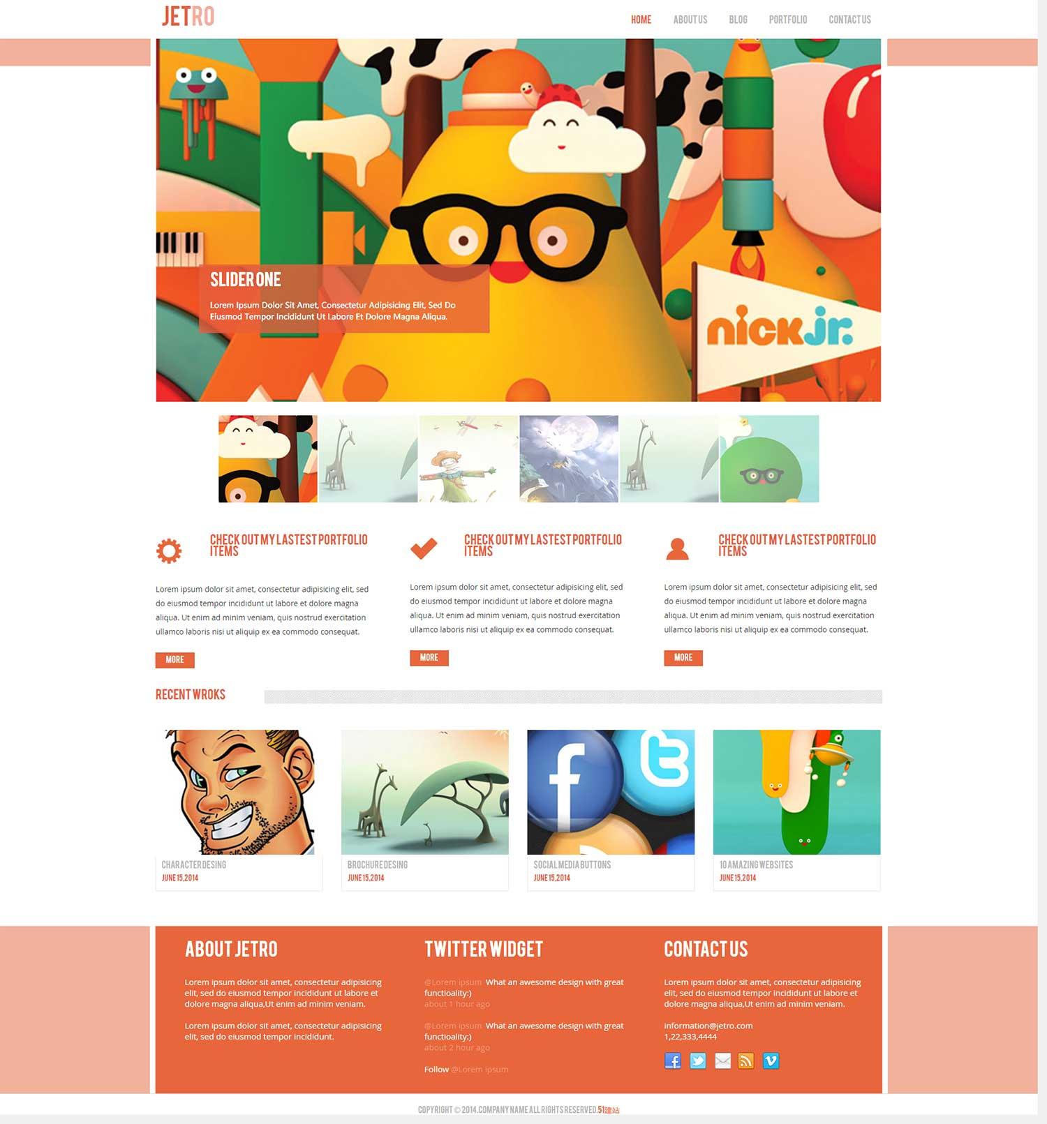 html5橘红色jetro响应式企业个人产品博客网页网站模板