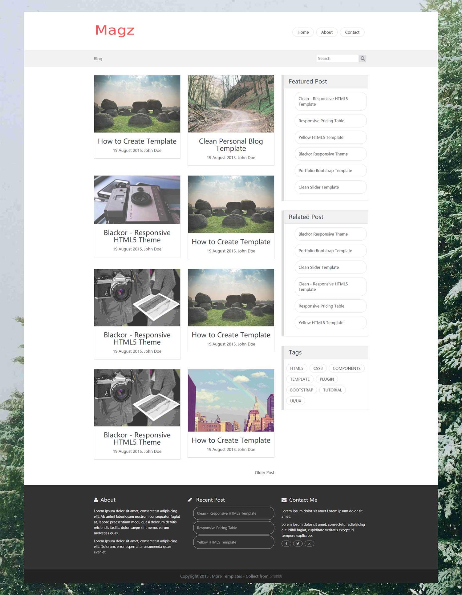 Clean简洁响应式个人HTML5博客blog模板