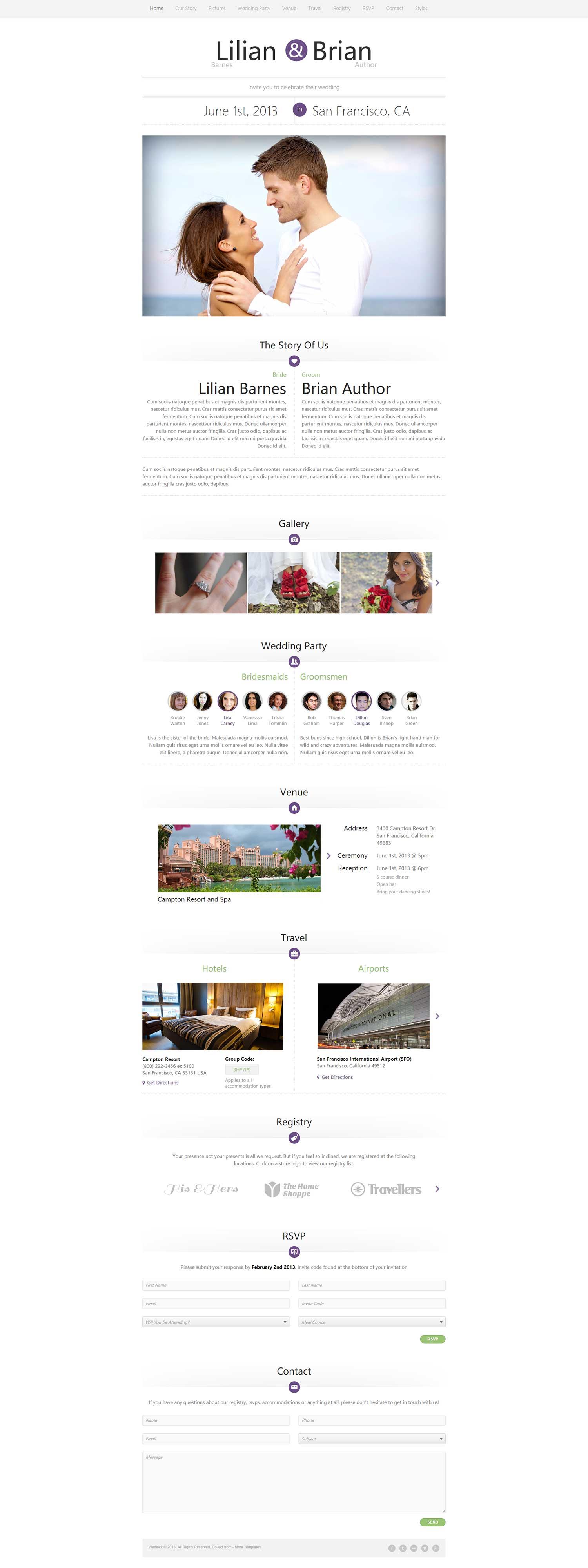 大气漂亮幸福恋人结婚个人主页主页html5模板