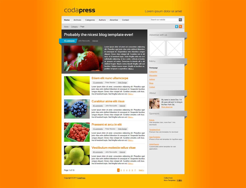 橙色漂亮的web20科技企业网页模板