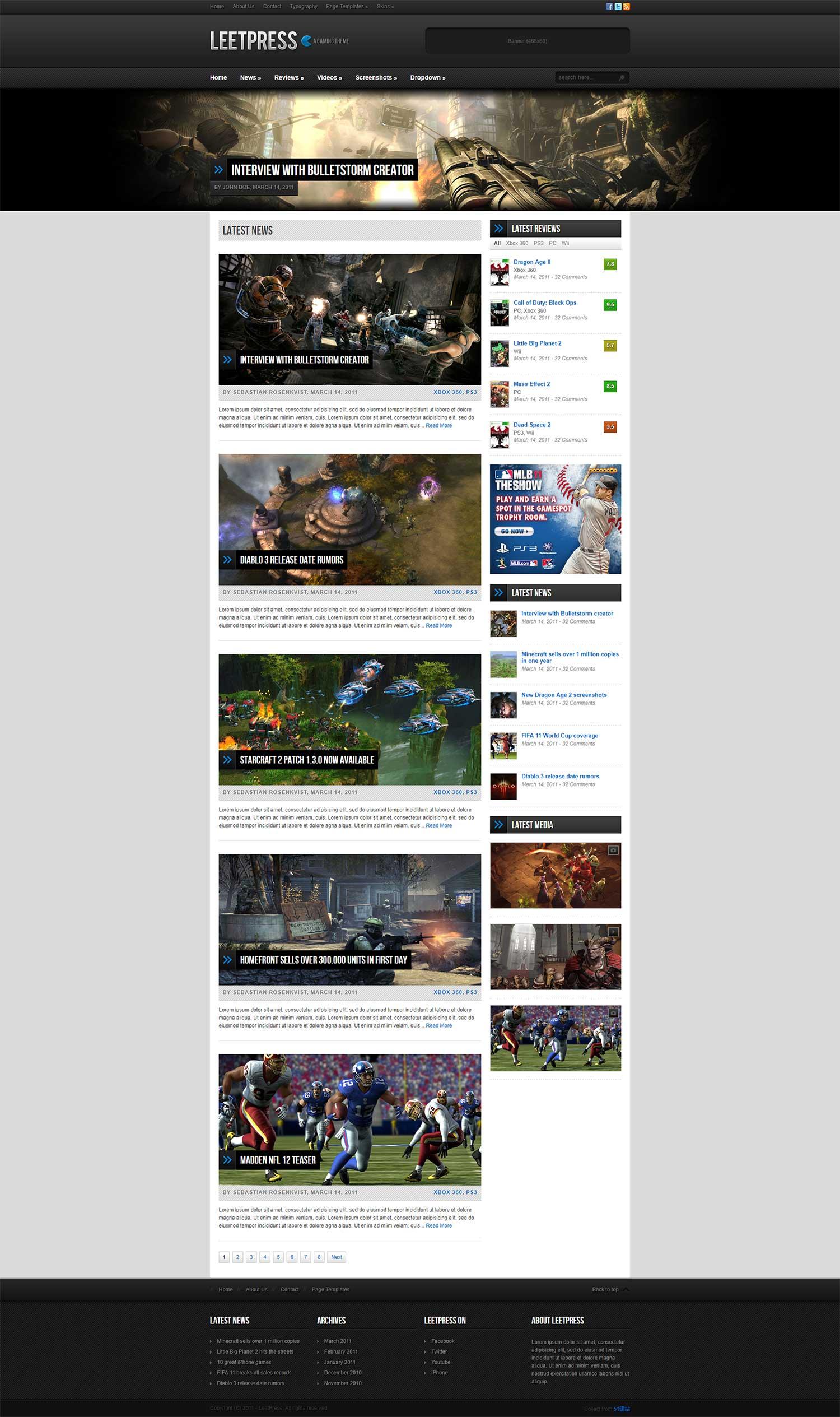 LeetPress大气黑色质感风格游戏网站整站模版