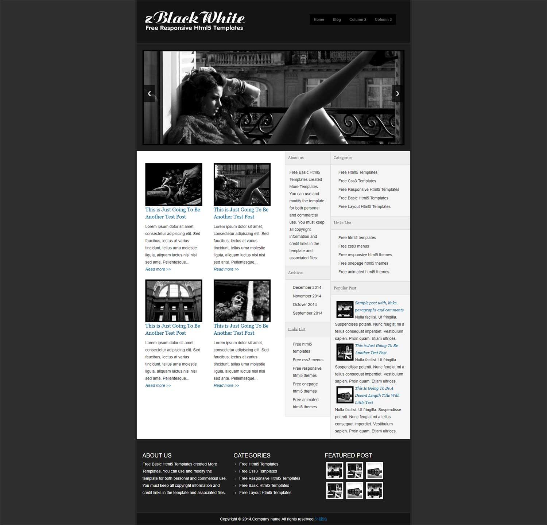 纯黑博客幻灯主题PC模板是一款适合个人博客PC手机模板