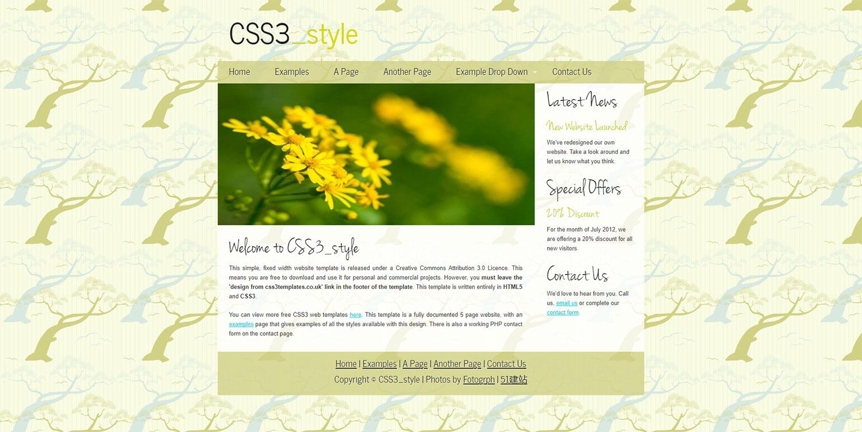 CSS3style插画树背景小清新英文博客css3模板