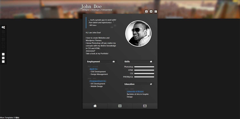 CSS3自定义换肤web个人简历模板下载_个人 黑色 css3 简历 动画 web简历 设计师 个人单页 漂亮