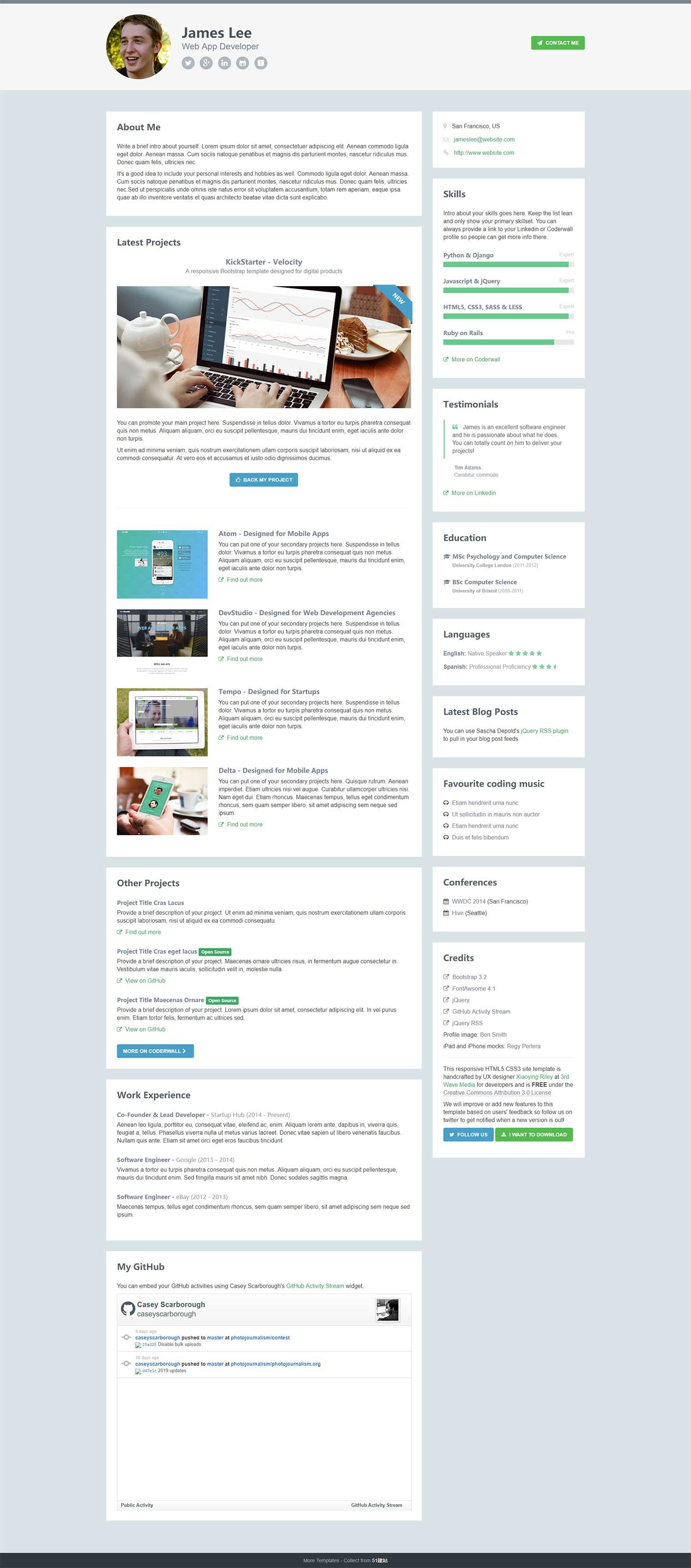 HTML5网站技术开发者web个人博客简历模板