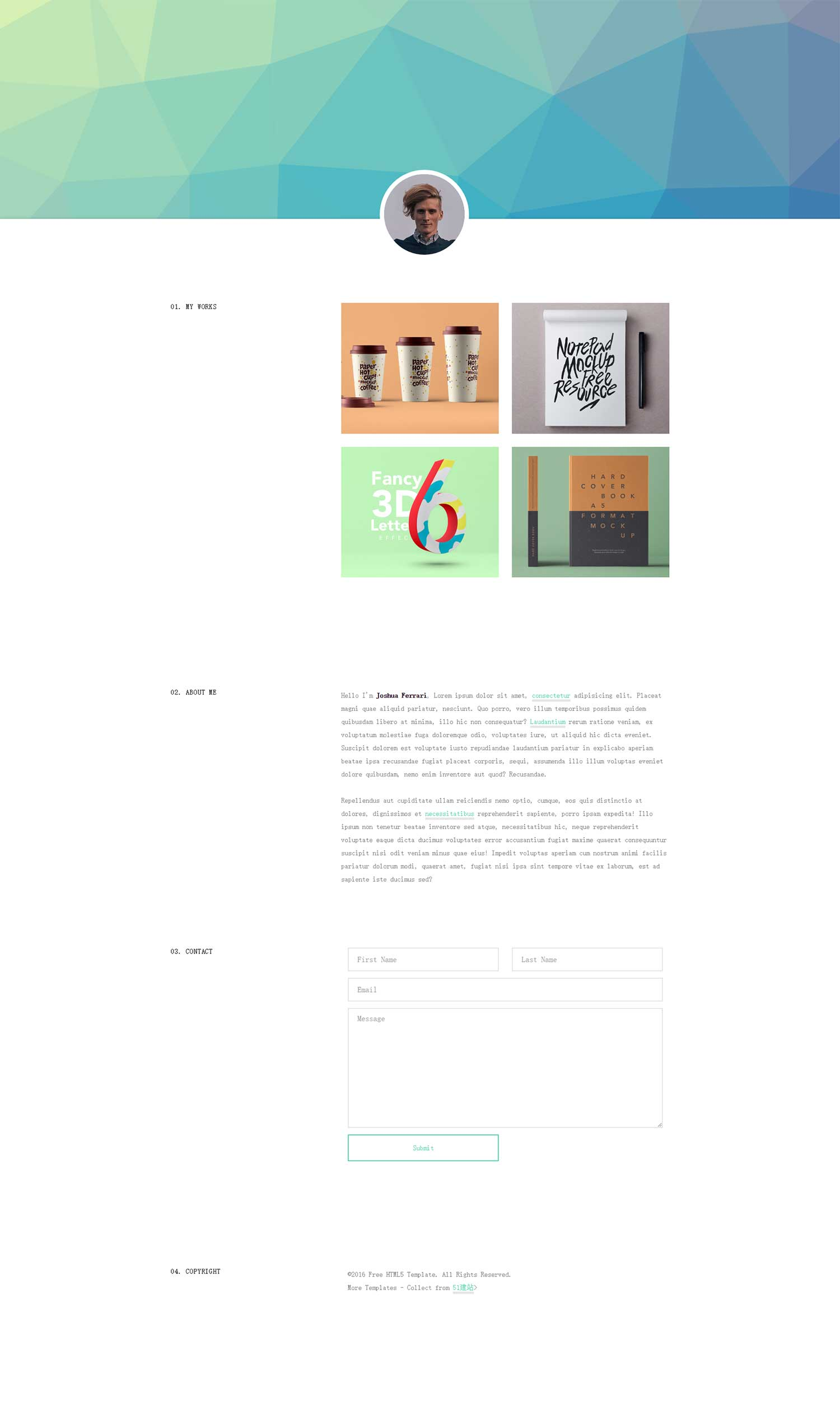 UI设计师个人作品展示web简历简介清新网页博客blog网站模板