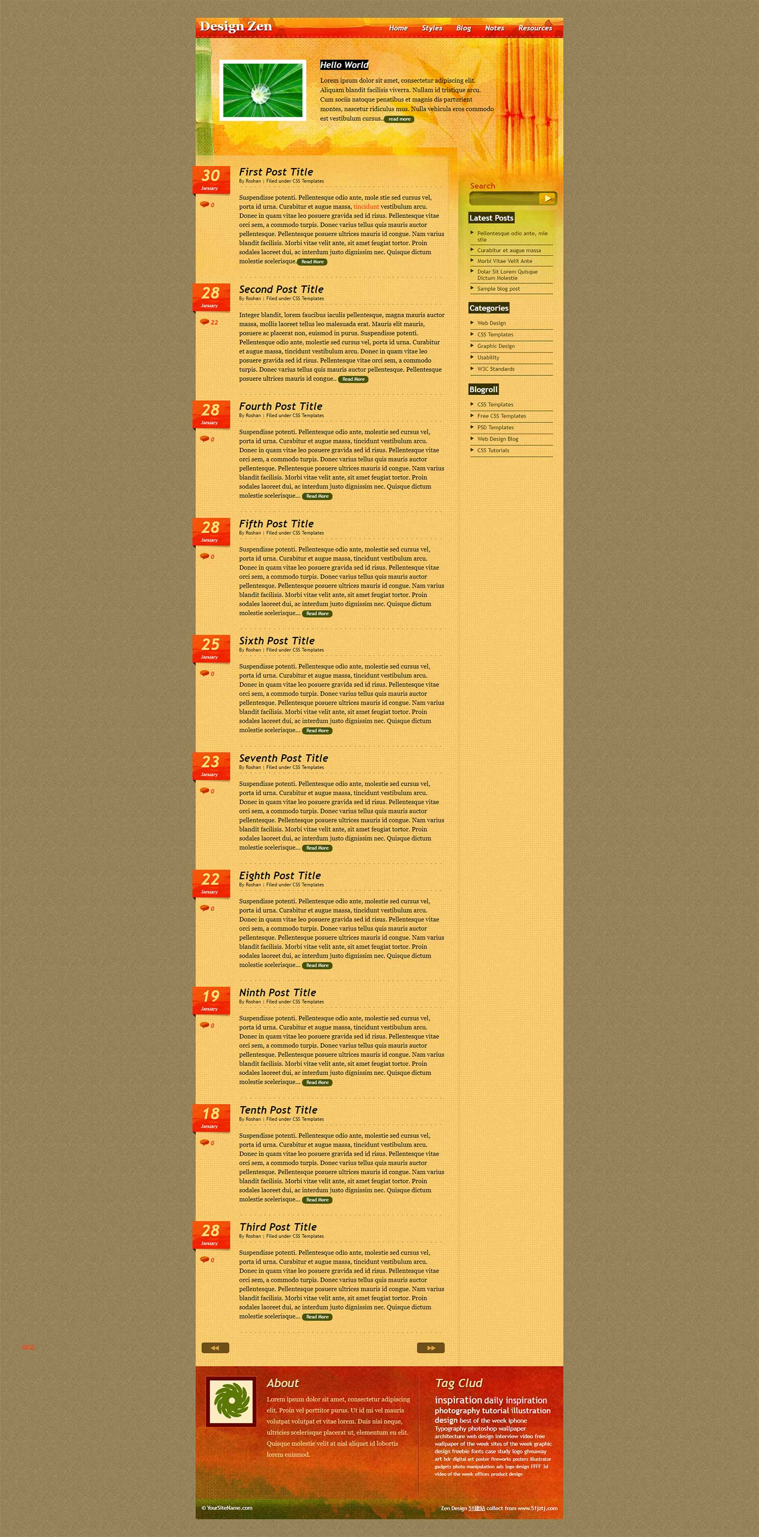 橙色竹子背景复古个人博客模板
