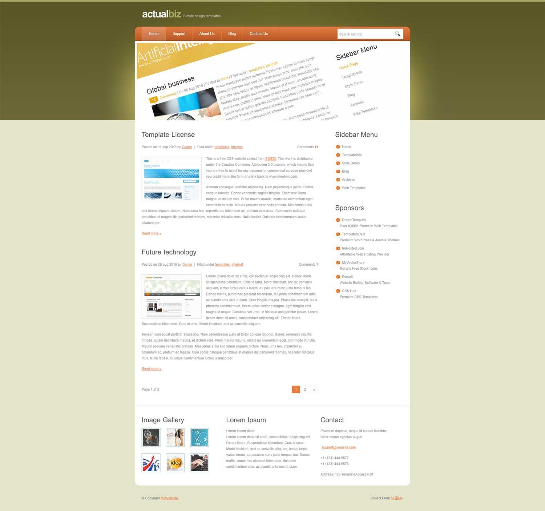 暗绿色大图个人博客网站模板