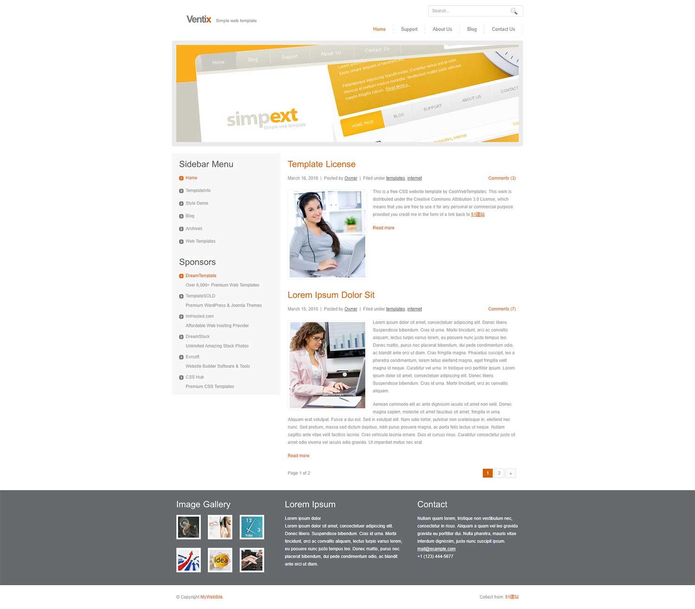 白色纯净简洁的大图商务博客CSS模板