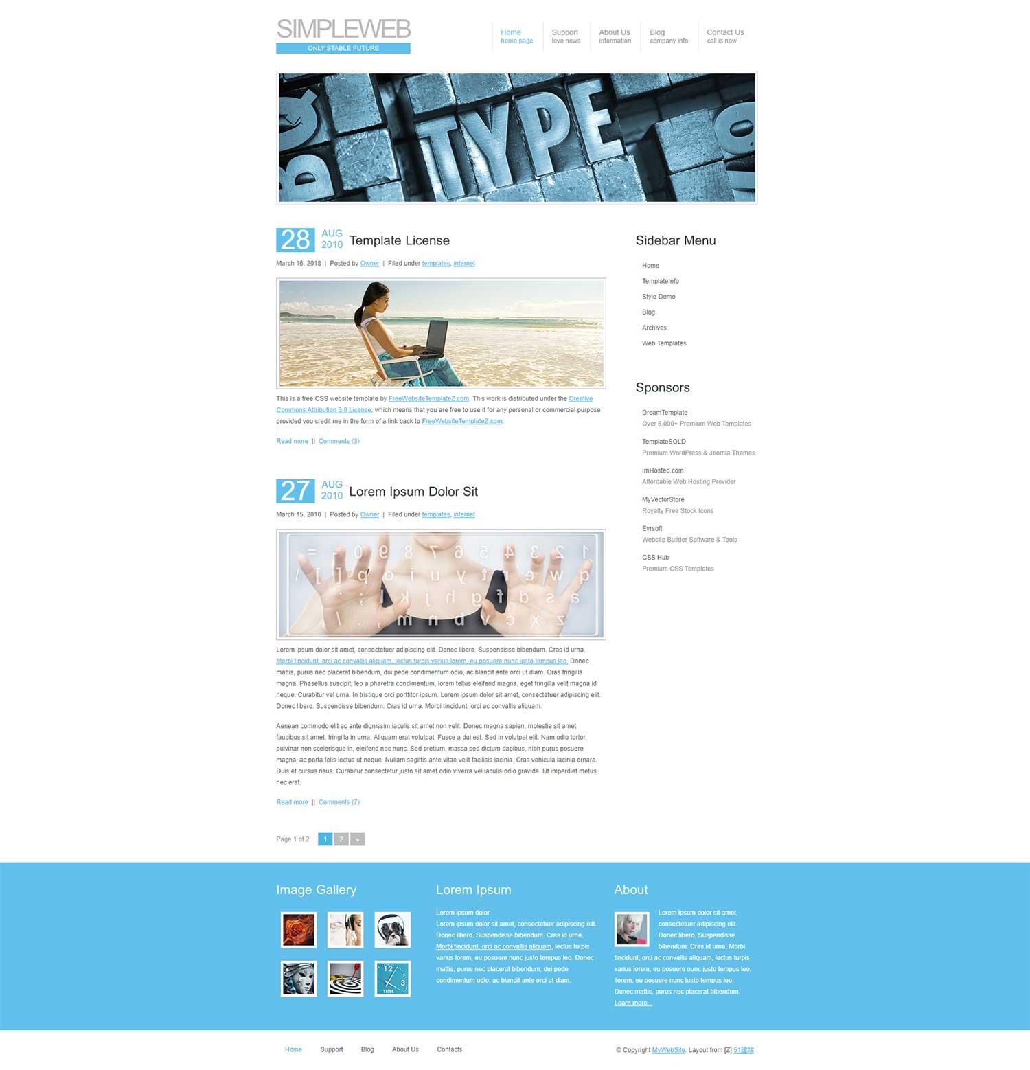 白色简洁大图博客模板