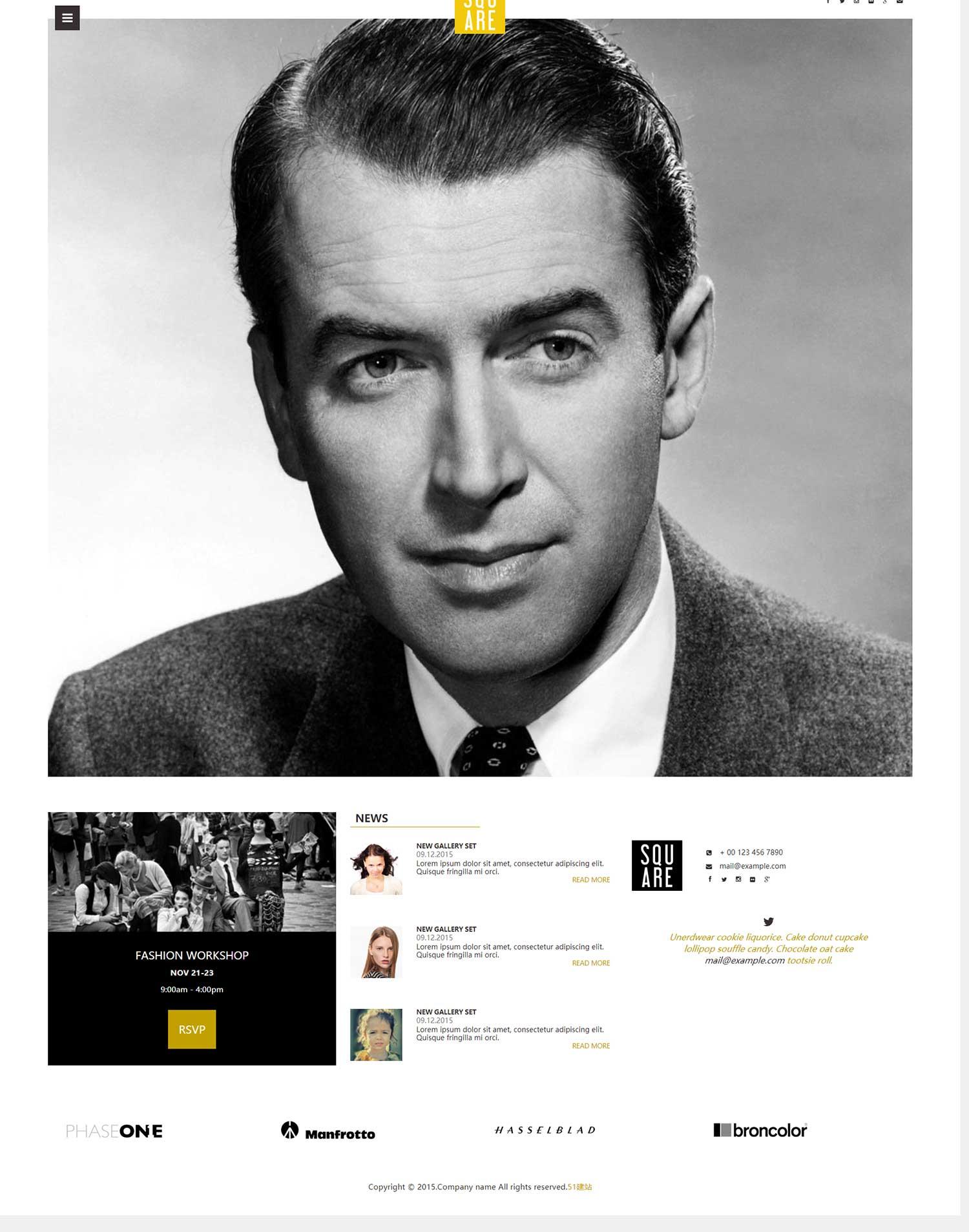 大头像灰白色网站模板是一款适合个人介绍或者人物选举html5网站模板