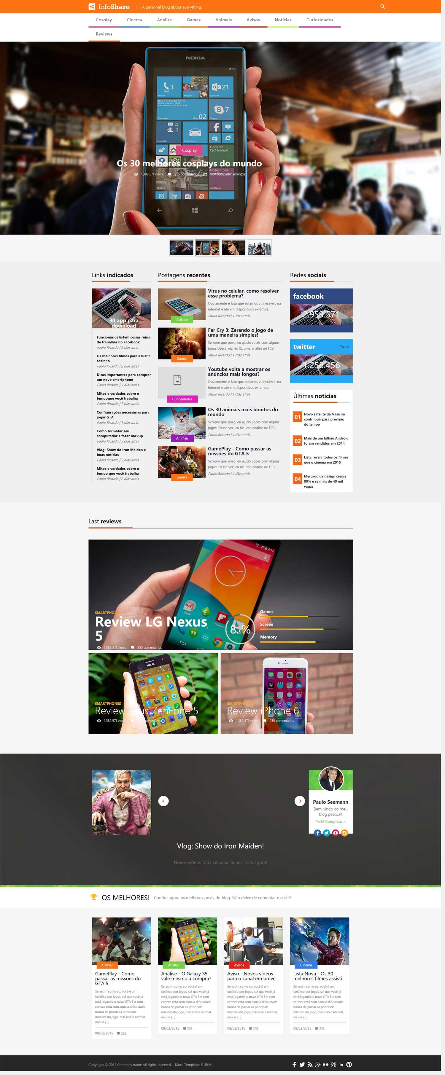 大图幻灯游戏科技博客圈bootstrap响应式评测新闻模板