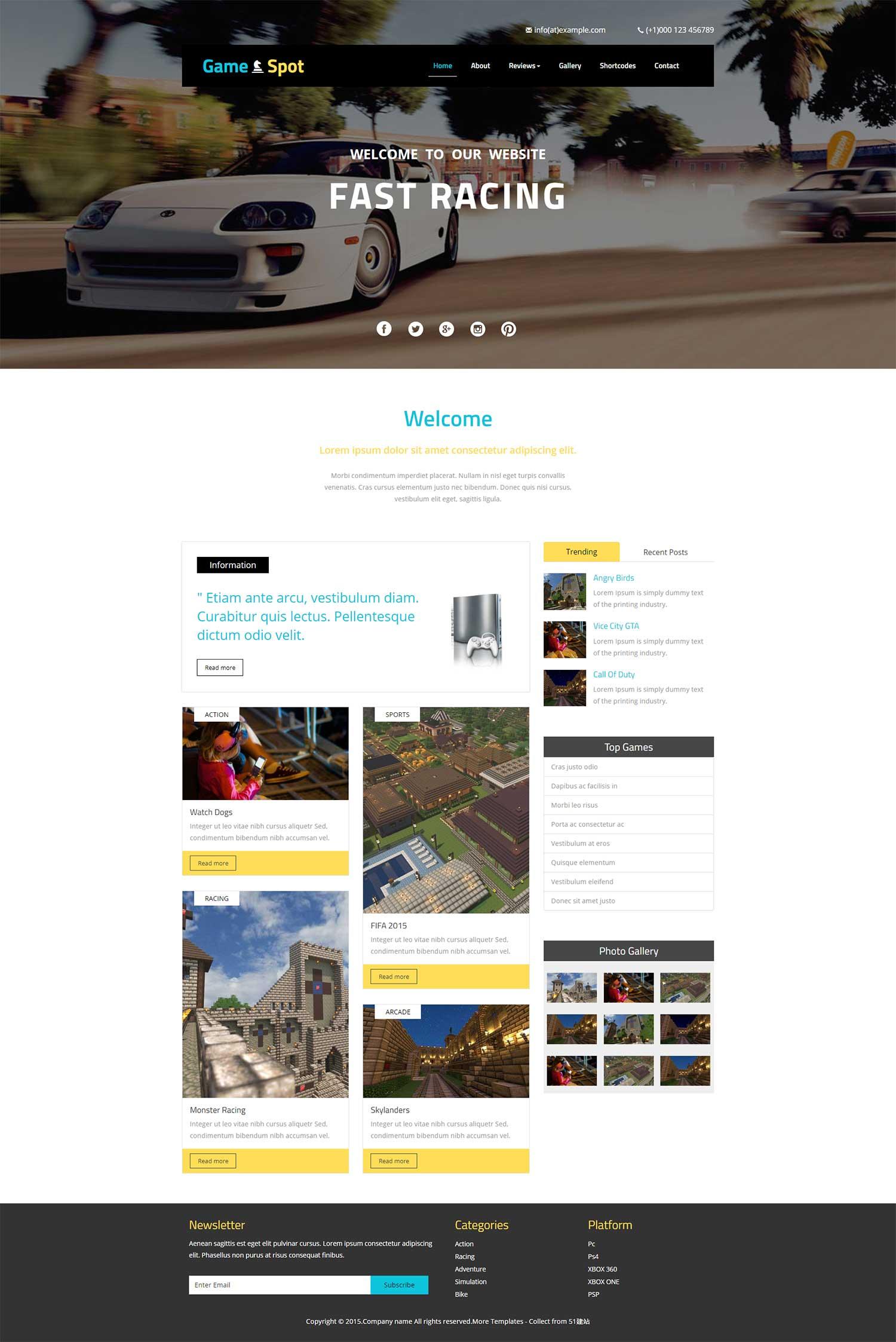 大气游戏扁平化个人整站企业标准bootstrap博客网站模板