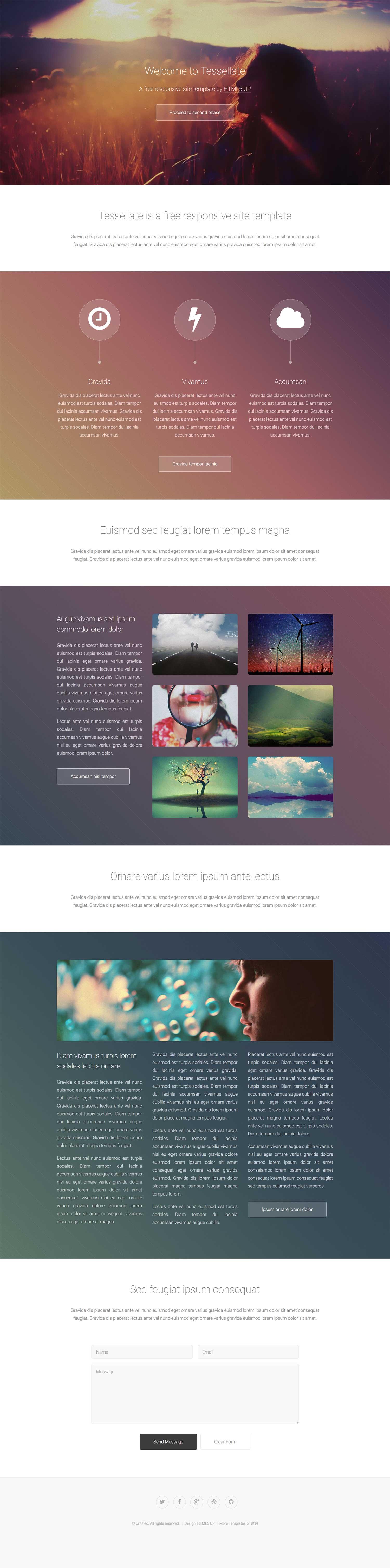 大图背景扁平化个人相册设计潮流设计风格响应式html5模板