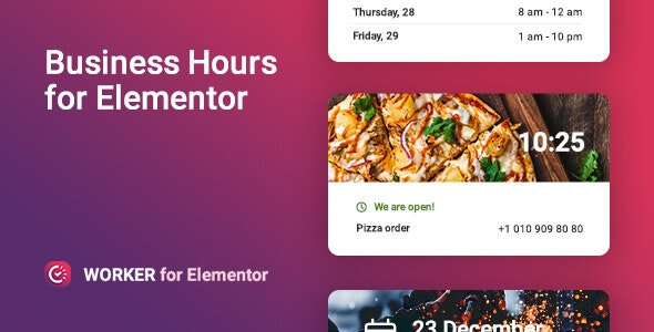 Worker - Business hours widget for Elementor 公司日程安排WordPress插件-创客云