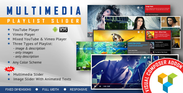 Multimedia Playlist Slider WPBakery Page Builder 播放器插件-创客云