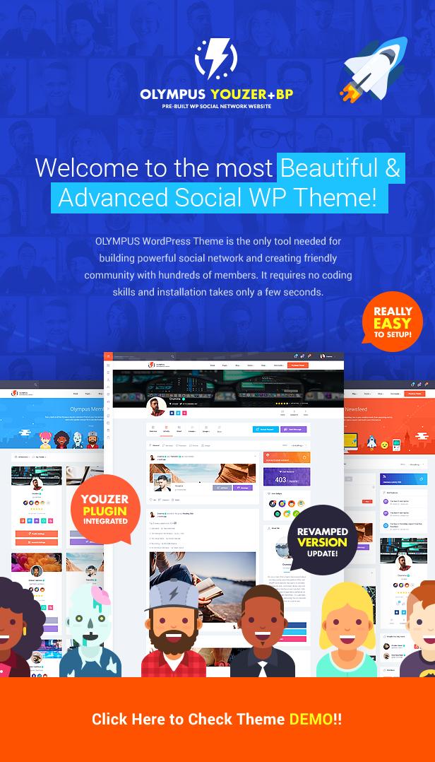 Olympus - 强大社交网站模板BuddyPress主题-创客云