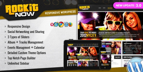 Rockit Now – 音乐乐队WordPress主题 – v3.0