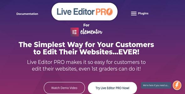 Live Editor PRO For Elementor 快速开始编辑器扩展插件-创客云