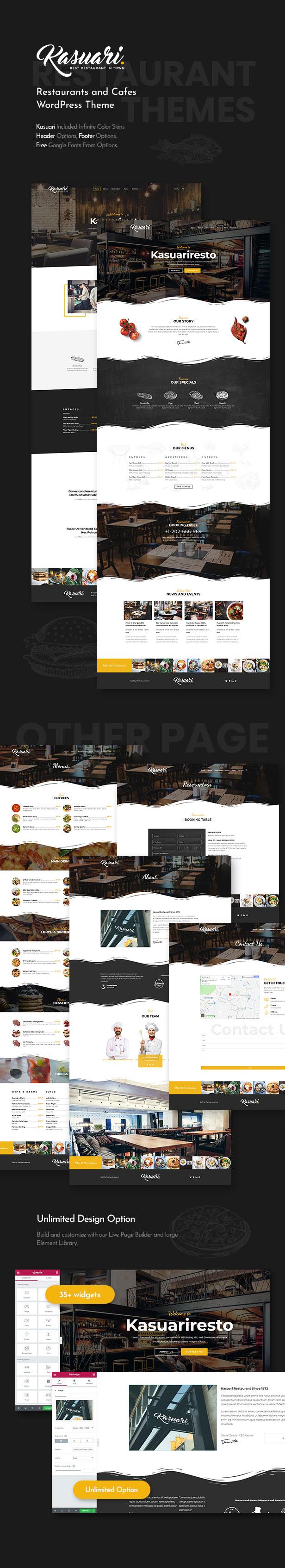 Kasuari - 餐馆咖啡厅网站模板WordPress主题-创客云