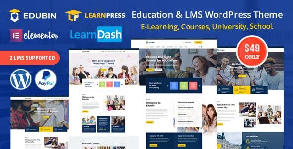 Edubin – LMS学校教育培训网站WordPress主题 – v2.0.8