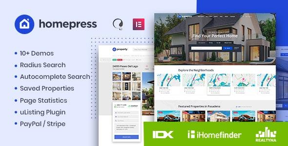 HomePress - 房地产中介网站模板WordPress主题-创客云