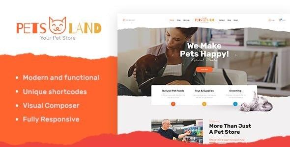 Pets Land - 兽医宠物家畜商店wordpress主题-创客云