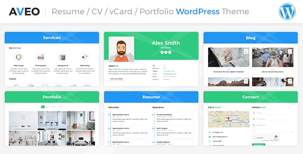 Aveo - 个人简历 / CV 卡片WordPress模板-创客云