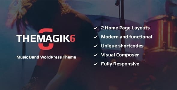 The Magic 6 - 音乐乐队艺术家WordPress主题-创客云
