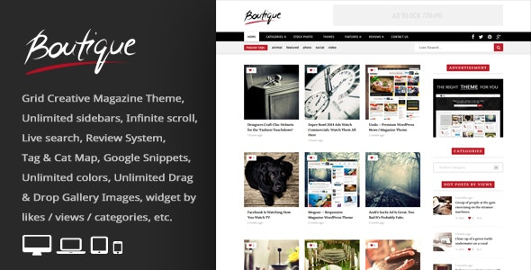 Boutique Grid - 创意新闻杂志网站WordPress模板-创客云