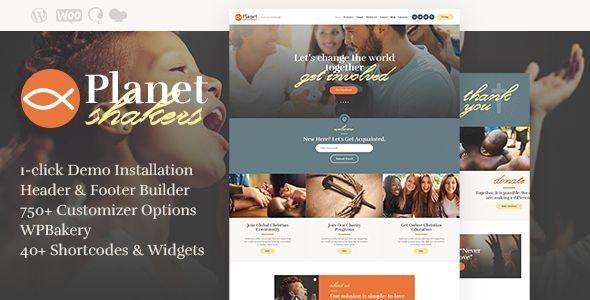 Planet Shakers - 教堂宗教慈善网站模板WordPress主题-创客云