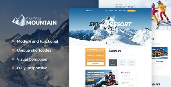 Snow Mountain - 滑雪场滑雪培训学校wordpress主题-创客云