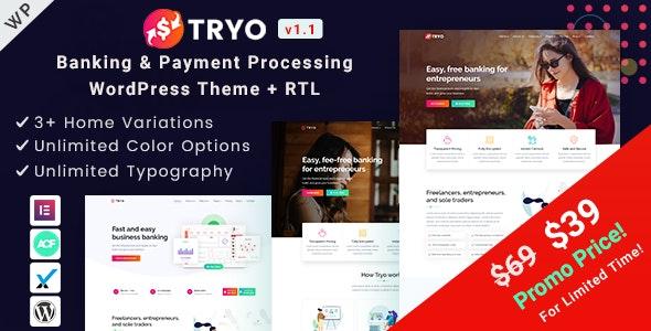 Tryo - 银行金融保险支付行业WordPress主题-创客云