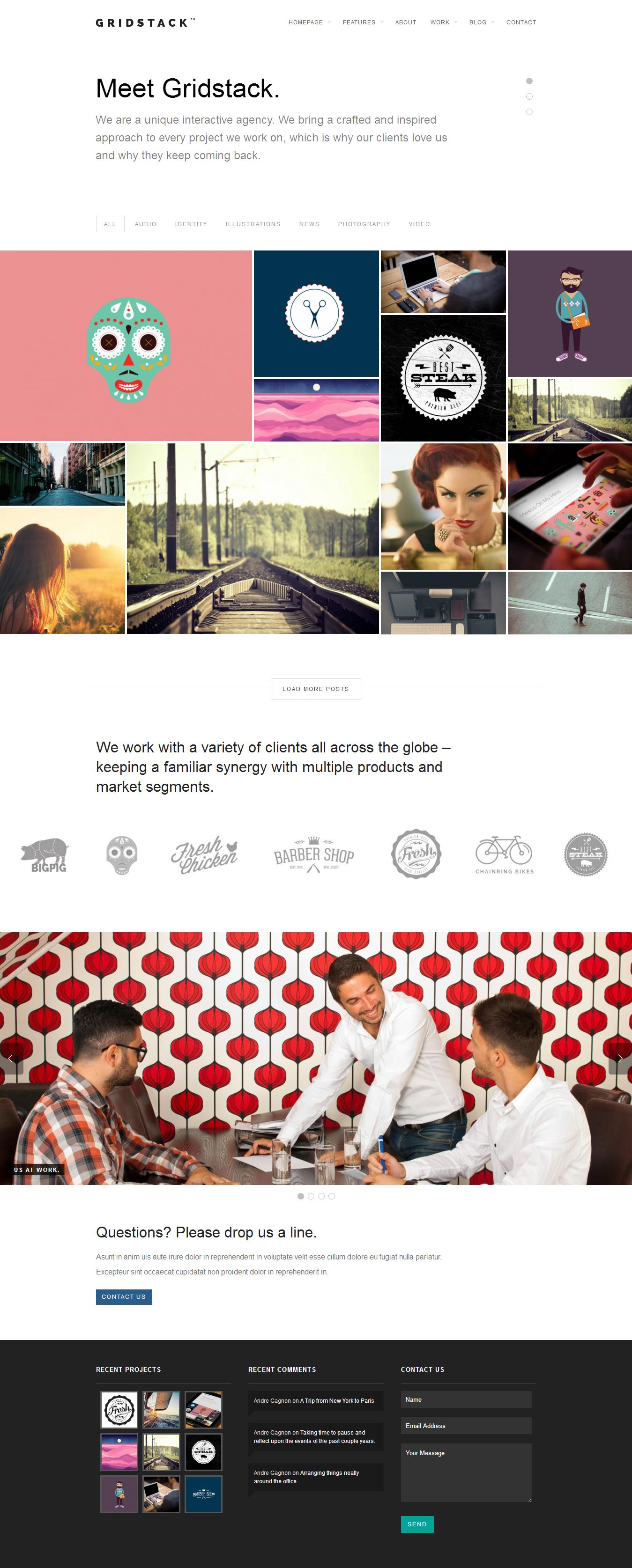 Gridstack _ A responsive agency theme.